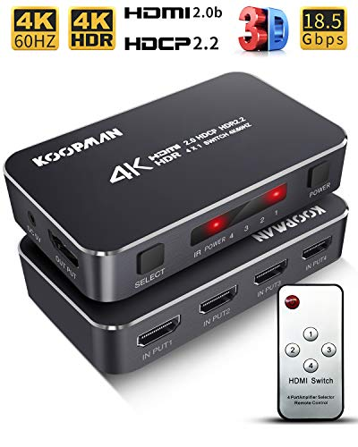 4K HDR HDMI Switch, Koopman 4 Ports 4K 60Hz HDMI 2.0 Switcher Selector with IR Wireless Remote, Supports UltraHD Dolby Vision, High Speed(Max to 18.5Gbps), HDR10, HDCP 2.2 & 3D (Selector Switcher Remote Switch)