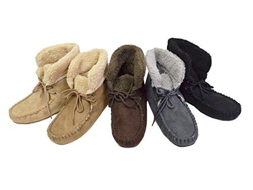 Cordón De Las Mujeres Zapatillas De Tobillo Hi Moccasin Botaie Zapato De Piel Sintética De Faux Beige Beige