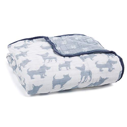 aden + anais Dream Blanket; 100% Cotton Muslin; 4 Layer Lightweight and Breathable; Large 47 X 47 inch; Waverly - Pup