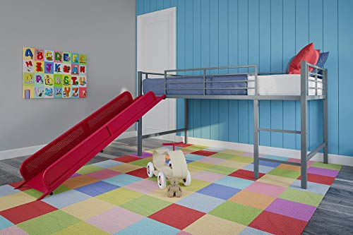 DHP Junior Twin Metal Loft Bed with Slide, Multifunctional Design, Silver with Red ()