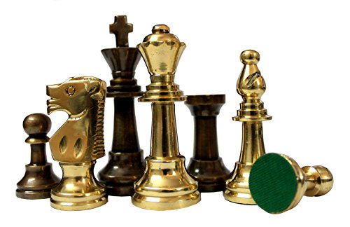 "StonKraft Collector Edition Brass Chess Pieces Pawns Chessmen Chess Coins Figurine Pieces (3"" Staunton)"