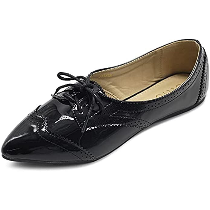 Ollio Womens Ballets Shoes Flats Pointed Toe Oxford 1M1818