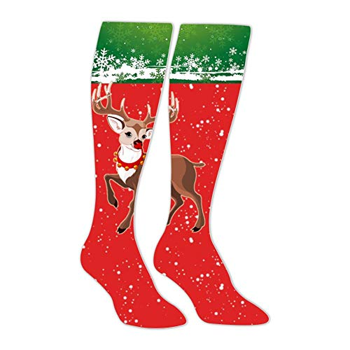 IOG9 Rudolph the Red-Nosed Reindeer Compression Socks Funny Patterned Long Stockings Knee High Family Socks