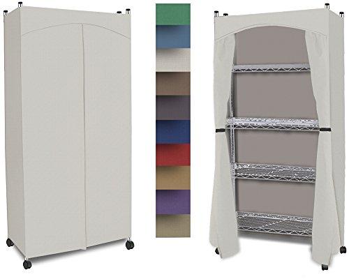 Wardrobe 5-Shelf Closet w/ Premium Cotton Canvas/Duck Cover (60-62.5Hx30Wx14D) Cream
