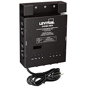 Image of Home Improvements Leviton D4DMX-MD5 4-Channel Programmable Dimmer Pack Integrating Stand-Alone, 5-Pin DMX 15A Power Cord