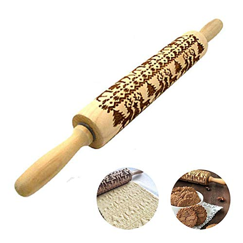 "Christmas Wooden Rolling Pin, Engraved Embossed Rolling Pin with Elk Pattern for Kitchen Baking Cookies Fondant (17"")"