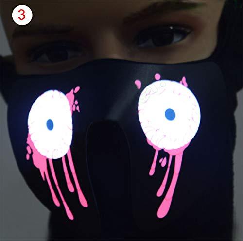 Halloween LED Luminous Flashing Face Mask Party Masks Light Up Dance Halloween Cosplay Masks 3