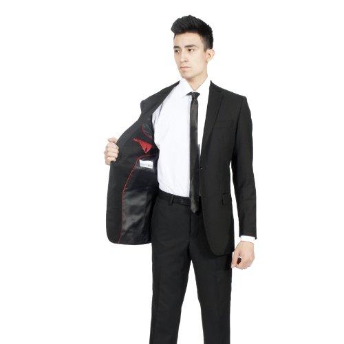 36R Zonettie by Ferrecci Premium Mens 2 Pc Slim Fit Black Suit