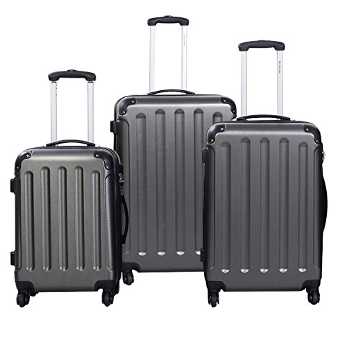 (Goplus 3Pcs Luggage Set, Hardside Travel Rolling Suitcase, 20/24/28 Rolling Luggage Upright, Hardshell Spinner Luggage Set with Telescoping Handle, Coded Lock Travel Trolley Case (Gray))