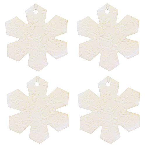 Set of Four Snowflake Shaped Air Fresheners With Embossed Snowflake Pattern, Aqua Spa