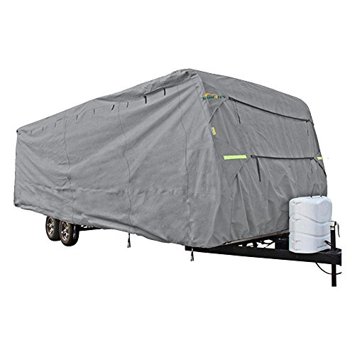 Summates Travel Trailer Cover RV Cover,color gray, 3 layer polypropylene fabric for whole cover, fits most sizes (Fits 35-38ft Travel Trailer) (35 Foot Travel Trailer Cover compare prices)