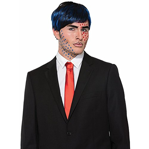 Pop Art Costume Blue Wig (Men's Pop Art Bobby Boom Short Black Blue Wig Cartoon Style Costume Accessory)