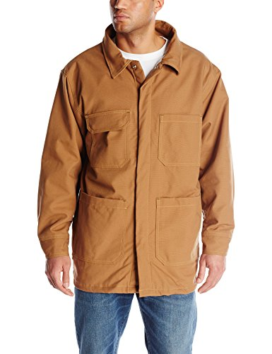 Bulwark Flame Resistant 11 oz Cotton/Nylon Excel FR ComforTouch Long Brown Duck Lineman's Coat with Self Fabric Lay-Flat Collar, Brown Duck, X-Large