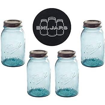 13c260a333fc3 Ball Mason Jars 32 oz Regular Mouth Aqua Vintage Colored Glass Bundle with  Non Slip Jar Opener- Set of 4 Quart Size Mason Jars - Canning Glass Jars ...