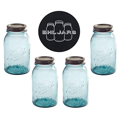 Ball Mason Jars 32 oz Regular Mouth Aqua Vintage Colored Glass Bundle with Non Slip Jar Opener- Set of 4 Quart Size Mason Jars - Canning Glass Jars with Lids ()