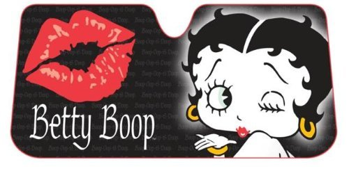 Betty Boop Timeless Design Kissy Face with Red Lips Car Truck SUV Front Windshield Sunshade - Accordion Style LA Auto Gear