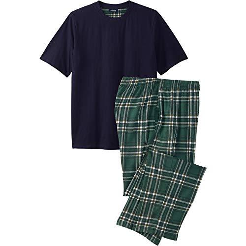 - KingSize Men's Big & Tall Jersey Knit Plaid Pajama Set, Hunter Plaid Tall-2XL