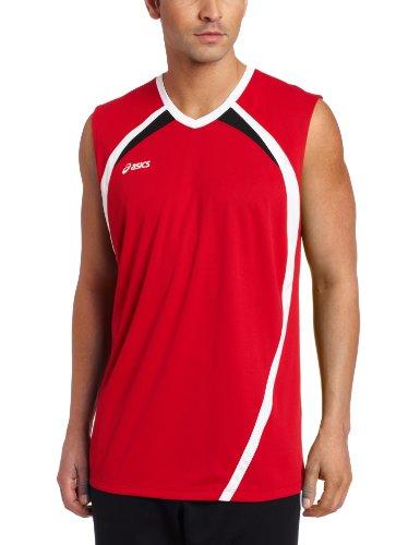 Asics Men's Tyson Sleeveless Jersey, Medium, Red/White