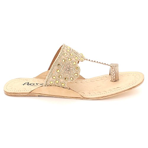 AARZ LONDON Womens Ladies Sparkly Authentic Kolhapuri Leather Chappal Open Toe Casual Comfort Slip-On Flat Sandals Shoes Size Gold Q7EoqaH
