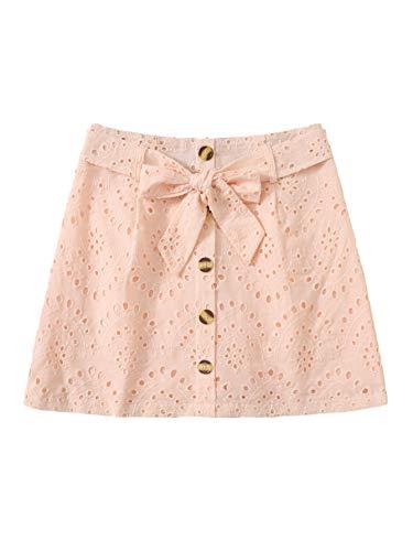 WDIRARA Women's Casual Bow Tie Waist Button Up Mini Short Skirt Pink S ()