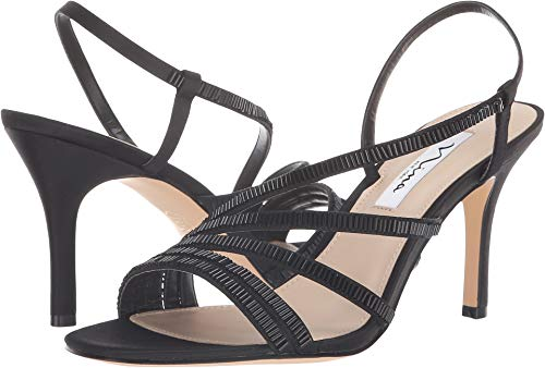 - NINA Womens Amani Open Toe Casual Slingback Sandals, Black Satin, Size 7.0