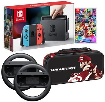 Nintendo Switch Bundle: 32 Gb Console Red And Blue Joy Con, Nintendo Switch Wheel (Set Of 2), Deluxe Travel Case And Mario Kart 8 Deluxe Edition Video Game by By          Nintendo