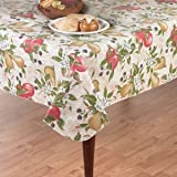"""Everyday Fruits Flannel Back Vinyl Tablecloth, 60"""" x 84"""" Oval"""