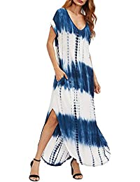 Work&Casual Women's Casual Maxi Short Sleeve Split Tie Dye Long Dresses