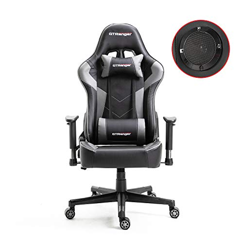 GTRanger Gaming Chair with Speakers Video Game Chair Racing Style Ergonomic Office Chair Adjustable Computer Desk Chair – Grey & Black
