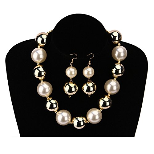 MeliMe Women's Colored Simulated Pearl ( 25mm ) Strand Necklace Set, 17'' + 3.2'' (Colored pearl) by MeliMe