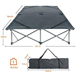 KingCamp Double Camping Cot for 2 Person, 550 Lbs Capacity, Oversized Heavy Duty 1200D Oxford, Anodized Steel Frame Folding Sleeping Bed with Wheeled Carry Bag for Indoor & Outdoor