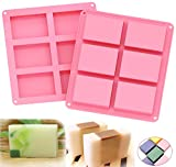 Arts & Crafts : Ozera 6 Cavities Silicone Soap Mold (2 Pack), Baking Mold Cake Pan, Biscuit Chocolate Mold, Ice Cube Tray