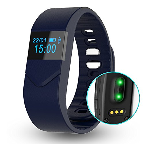 EIISON Fitness Tracker with Heart Rate monitor E5S Activity Watch Step Walking Sleep Counter Wireless Wristband Pedometer Exercise Tracking Sweatproof Sports Bracelet for Android and iOS (Dark Blue)