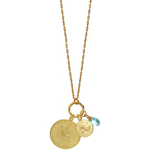 GIRLPROPS Mystical Sun Sign Horoscope Zodiac Pendants Necklace with Swarovski Crystal, Usa, Capricorn/December Birthstone in Gold Tone with Matte Finish ()