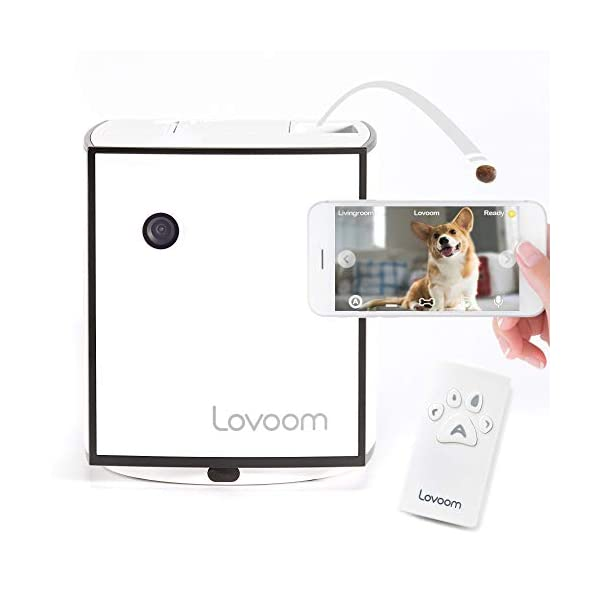 Lovoom Pet Monitoring Camera with Treat Dispenser, Control the direction and distance of treat launch,Autoplay,HD Wi-Fi…