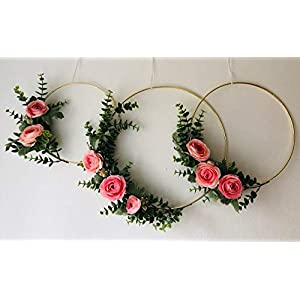 Designs by DH Modern Metal Hoop Wreath Shabby Chic Pink Poppy Rose Peony Eucalyptus Succulent Simple Wedding Baby Nursery Rustic Farmhouse Scandinavian Home Decor 74