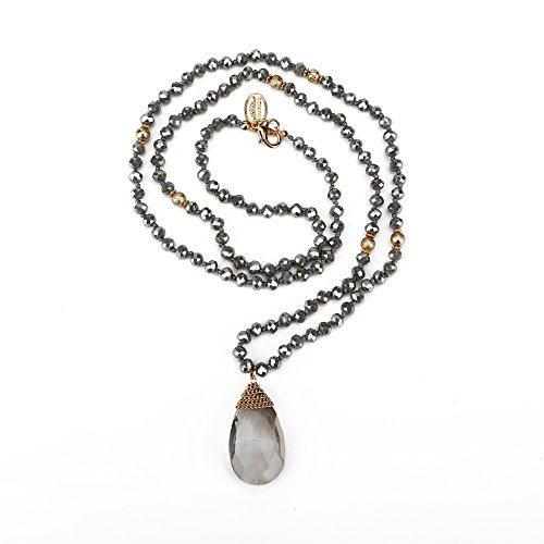 Crystal Beads Long Necklace - Niumike Crystal Beads Long Necklaces With Statement Transparent Pendant,100% Hand Braided Necklace,Free Flannel Bag (Grey)