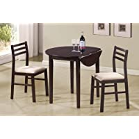 Coaster Home Furnishings 3-piece Dining Set with Drop Leaf Cappuccino and Tan