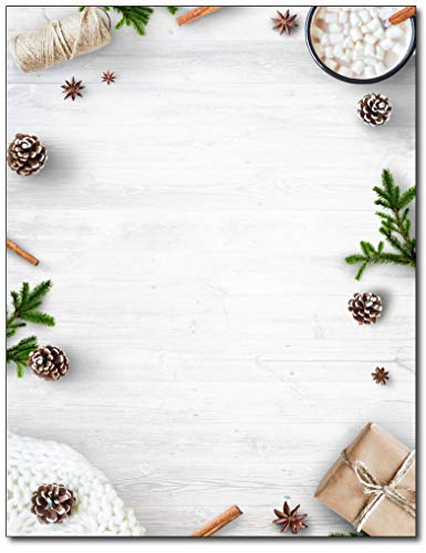 Minimal White Christmas Holiday Stationery - 80 Sheets - Great for Flyers, Invitations, or Letters ()