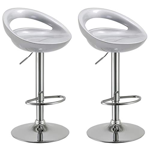 Duhome 2 PCS Swizzle Gloss Finish Crescent Shape Adjustable Swivel Bar Stools Kitchen Counter Top (Silver)