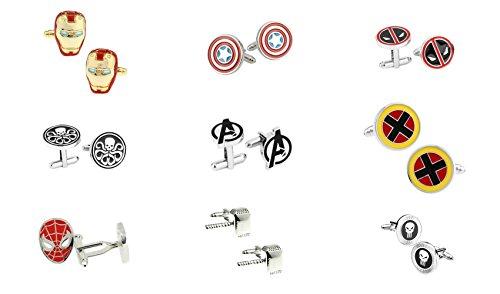 J&C Marvel Comics Superhero Assorted Logos (9 Sets) Cufflinks