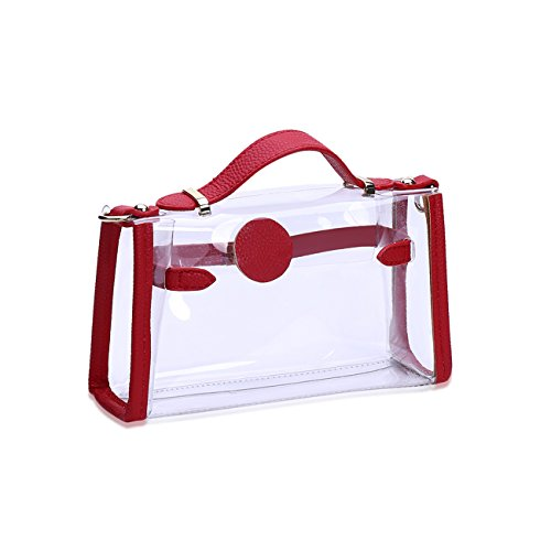 Women THEE THEE Bag Totes Women Bags Bags Transparent Red Shoulder E66wq5TR
