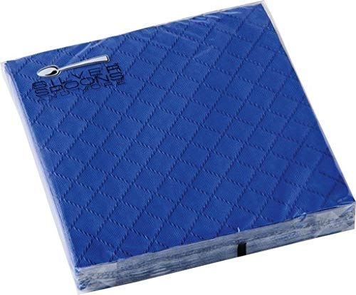 DISPOSABLE QUILTED COCKTAIL NAPKINS   European Made   for Upscale Wedding and Dining   16 pc   Royal Blue