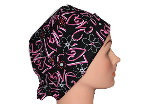 Scrub Hat Chemo Cap Pixie Style Many Color Options Available (love) by Scrumptious Scrub Hatz (Image #1)
