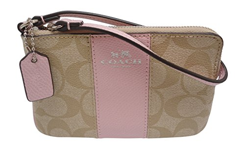 (Coach Corner Zip Women's Signature Wristlet Wallet Light Khaki Petal F64233)