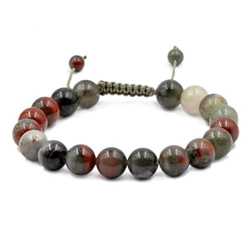 (AD Beads Natural 10mm Gemstone Bracelets Healing Power Crystal Macrame Adjustable 7-9 Inch (Bloodstone))