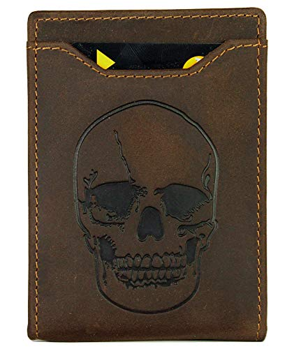 LXFF Men's Skull Wallet Money Clip Wallets RFID Blocking Slim Front Pocket Credit Card Holder Minimalist Mini Bifold - Full Grain Leather Vintage - Wallets Men Leather For Skull