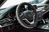 New Crystal steering wheel cover, PU leather Bling Bling Rhinestone, Black Universal 15-inch Protector for Female Girls. (Bing Black White)