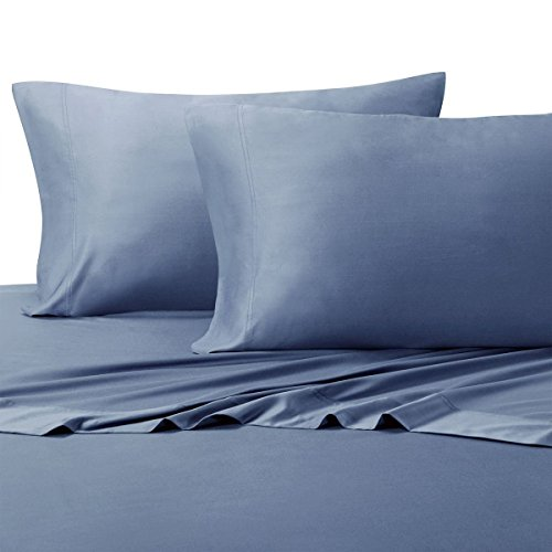 Royal Hotel Split-King: Adjustable King Bed Sheets 5PC Solid Periwinkle 100% Cotton 600-Thread-Count, Deep Pocket