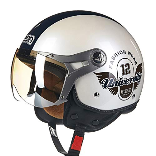 (HMT-Mernt Motorcycle Helmet Vintage Route 66 Open Face Helmet Scooter 3/4 Helmet University 12 XL)